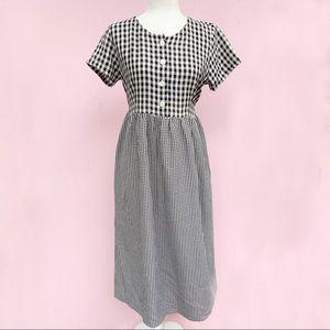 VTG 90s Black & White Gingham Baby Doll Dress Sz S